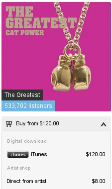 price comparison between iTunes and directly from artist, for an album on Last.fm