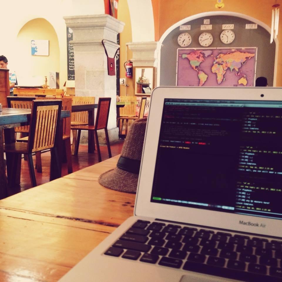 working at a café